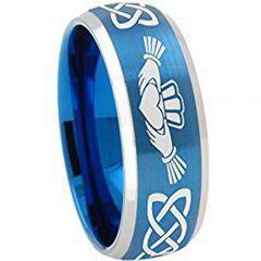 *COI Titanium Blue Silver Mo Anam Cara Beveled Edges Ring-JT1072
