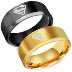 *COI Titanium Black/Gold Tone Superman Beveled Edges Ring-1159AA