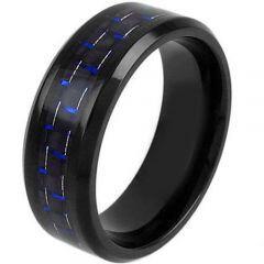 COI Black Titanium Beveled Edges Ring With Carbon Fiber-1205