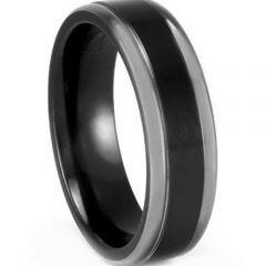 COI Titanium Black Silver Step Edges Ring - JT1207