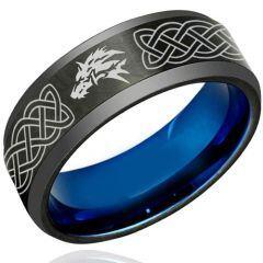 COI Titanium Black Blue Wolf Celtic Beveled Edges Ring - 1222