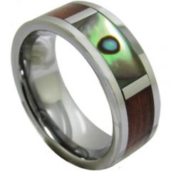 COI Titanium Pipe Cut Ring With Abalone Shell & Wood-1224