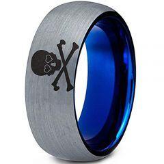 COI Titanium Blue Silver Skull & Bones Dome Court Ring-123