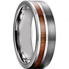 COI Titanium Pipe Cut Flat Ring With Offset Wood - JT1272A