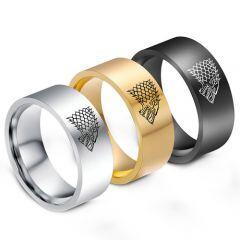 COI Titanium Game of Thrones Ice Wolf Pipe Cut Flat Ring-1290