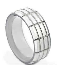 COI Platinum White Titanium Tire Tread Ring - JT871A