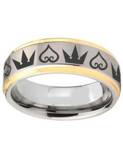 COI Titanium Gold Tone Silver Kingdom & Heart Ring-1365