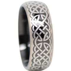 COI Titanium Black Silver Celtic Dome Court Ring - 1372