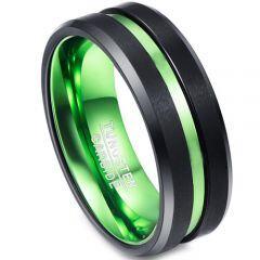 COI Titanium Black Green Center Groove Beveled Edges Ring-JT1521