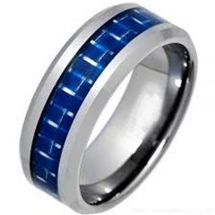 COI Titanium Beveled Edges Ring With Carbon Fiber - JT1450AA