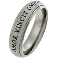 COI Titanium Amor Vincit Omnia Step Edges Ring - JT1486