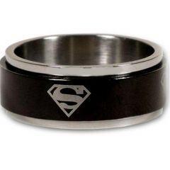 COI Titanium Black Silver SuperMan Step Edges Ring - JT1493A