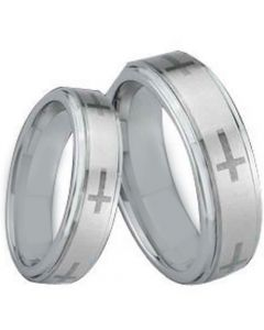 COI Titanium Cross Step Edges Ring - JT1473