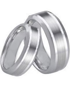 COI Titanium Double Lines Beveled Edges Ring - 4034