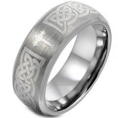 COI Titanium Cross Celtic Beveled Edges Ring - 1664