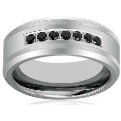 *COI Titanium Ring With Black Cubic Zirconia - JT1709AA