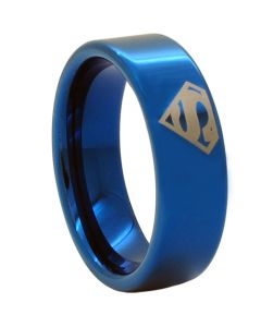 *COI Blue Titanium Superman Pipe Cut Flat Ring-JT1093CC