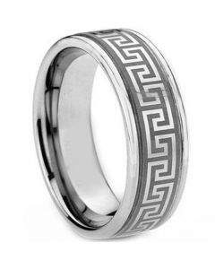 COI Titanium Greek Key Double Grooves Ring - 1269