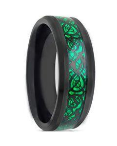 COI Titanium Black Green Dragon Beveled Edges Ring - JT1089