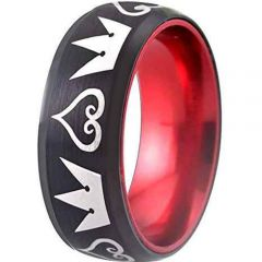 COI Titanium Black Red Kingdom and Heart Ring - JT1856
