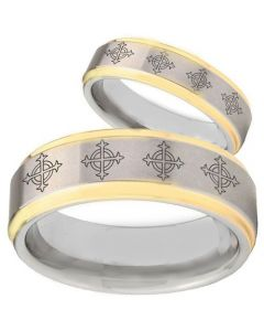 COI Titanium Gold Tone Silver Cross Step Edges Ring - 1865