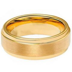 **COI Gold Tone Titanium Polished Shiny Matt Step Edges Ring - JT3194AA