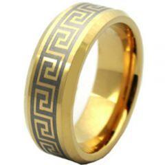 COI Gold Tone Titanium Greek Key Beveled Edges Ring - JT1988AA