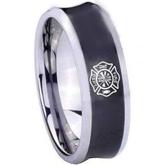 COI Titanium Black Silver Firefighter Concave Ring - 2030