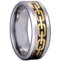 COI Titanium Black Gold Tone Key Chain Beveled Edges Ring - 2039