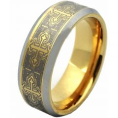COI Titanium Gold Tone Silver Cross Beveled Edges Ring-JT2060AA