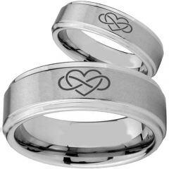 COI Titanium Infinity Hearts Step Edges Ring - 2146