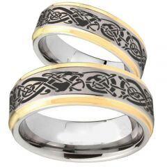COI Titanium Gold Tone Silver Dragon Step Edges Ring - 2166