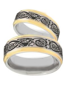 *COI Titanium Gold Tone Silver Dragon Step Edges Ring - 2166