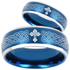COI Titanium Blue Silver Cross Celtic Beveled Edges Ring-2204