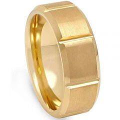 COI Gold Tone Titanium Horizontal Grooves Beveled Edge Ring-2215