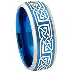 COI Titanium Blue Silver Celtic Beveled Edges Ring - 2251