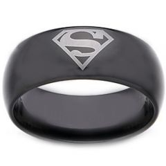 COI Black Titanium Superman Dome Court Ring - JT1713AA