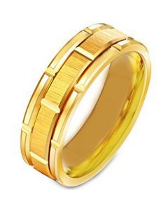 COI Gold Tone Titanium Tire Tread Brick Pattern Ring - 231