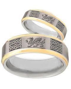 COI Titanium Gold Tone Silver Dragon Celtic Step Edge Ring-2354