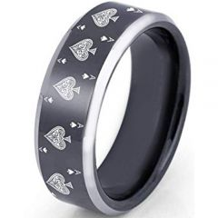 COI Titanium Aces of Spades Beveled Edges Ring - 2372
