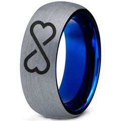 COI Titanium Blue Silver Infinity Heart Dome Court Ring - 2395