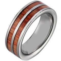 COI Titanium Pipe Cut Flat Ring With Wood - JT2396