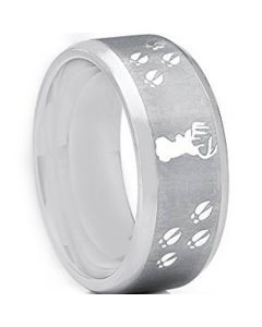 COI Titanium Deer Head & Track Beveled Edges Ring - JT3649
