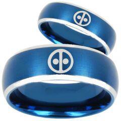 COI Titanium Blue Silver DeadPool Beveled Edges Ring - 253