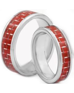 COI Titanium Beveled Edges Ring With Red Carbon Fiber - JT1446AA