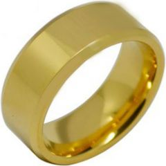 COI Gold Tone Titanium Beveled Edges Ring - JT2724AA