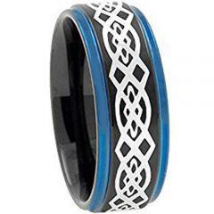 COI Titanium Black Blue Celtic Step Edges Ring - 2730