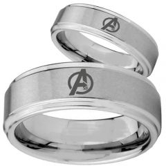 COI Titanium Marvel Avengers Step Edges Ring - 2740