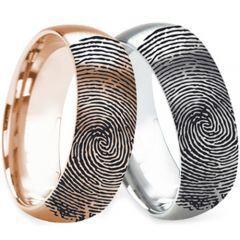 COI Titanium Rose/Silver Custom FingerPrint Dome Court Ring - 2762