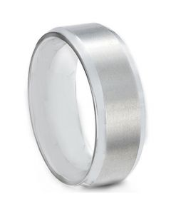 COI Platinum White Titanium Beveled Edges Ring-JT5084